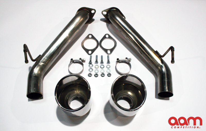 AAM Competition Short Tails for 370z with 5 inch diameter stainless steel tips, pair (Nismo Fitment) 2